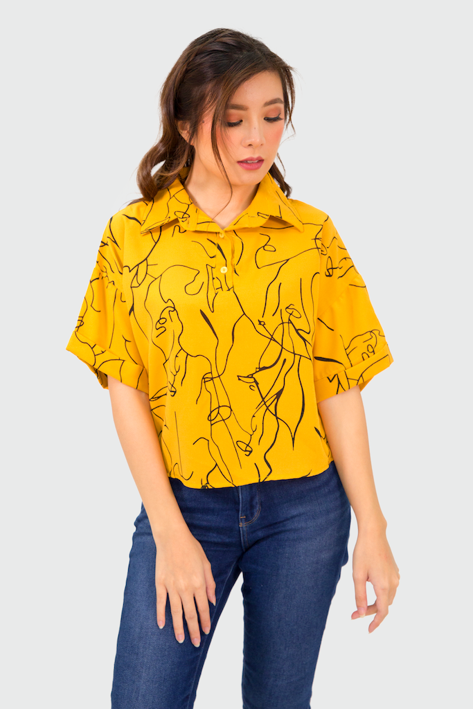Mustard Face Collar Buttons Top