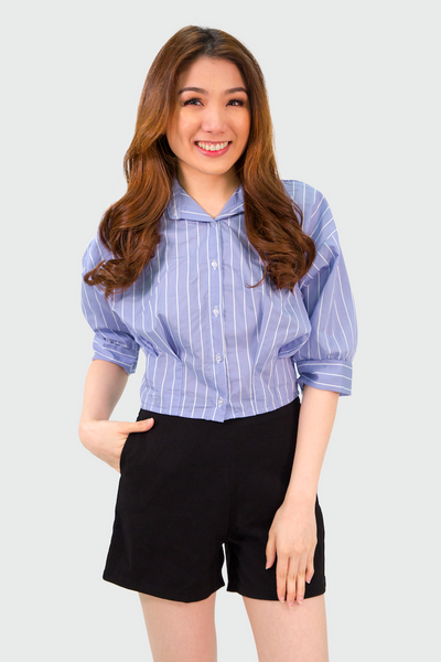 Blue Pinstripes Pinched Hem Top