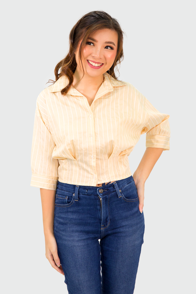 Cream Pinstripes Pinched Hem Top