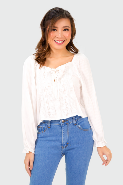 White Swiss Lace Off Shoulder Longsleeves