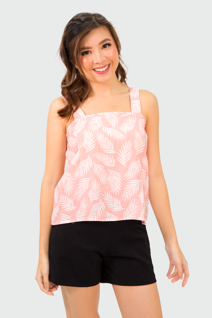 Pink Tropical Thick Spag Top
