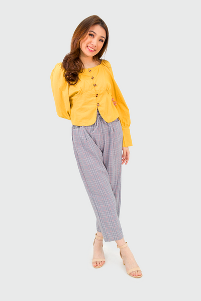 Mustard Semi Off Shoulder Brown Buttons