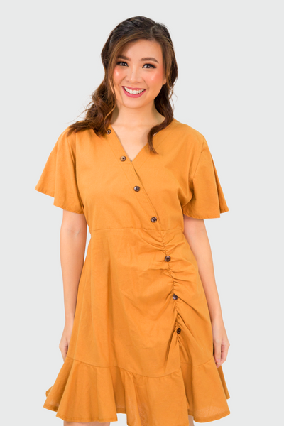 Brown Linen Sided Pleated Dress
