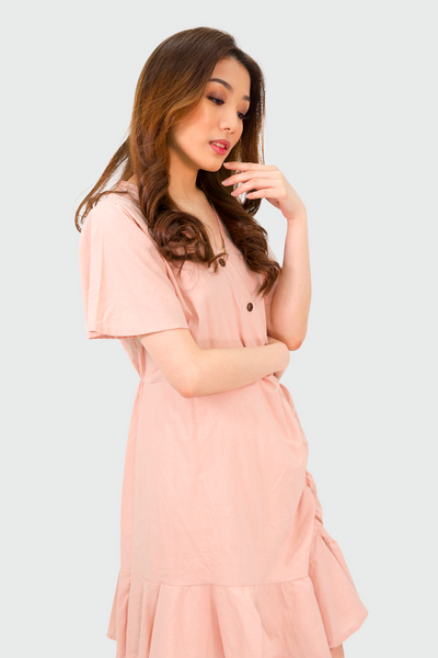 Pink Linen Sided Pleated Dress