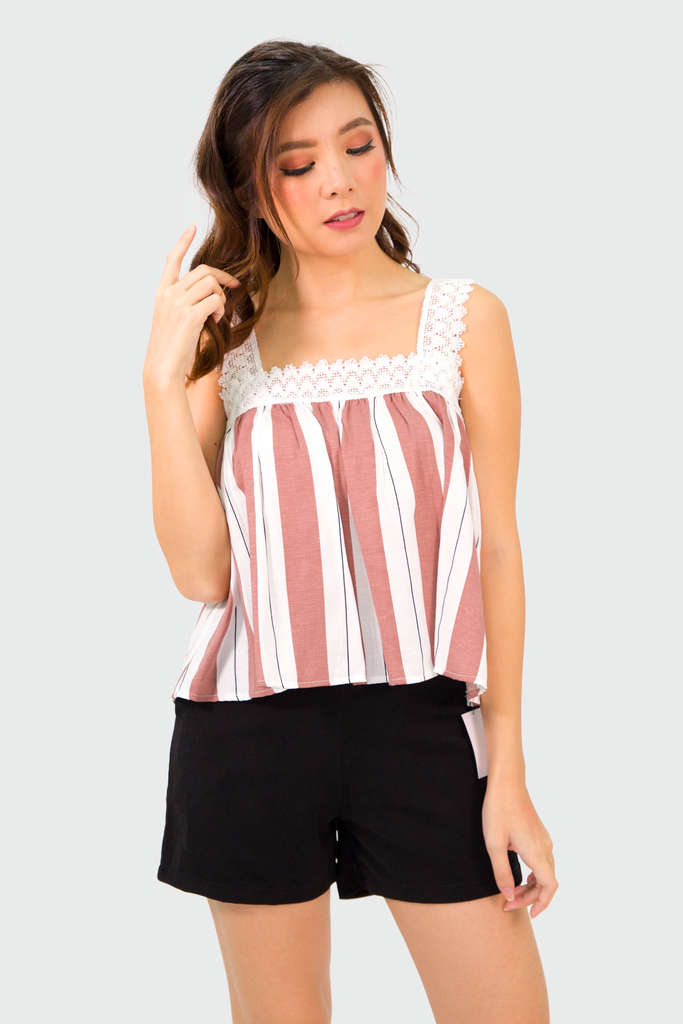 Pink Lace Strap Stripes Top
