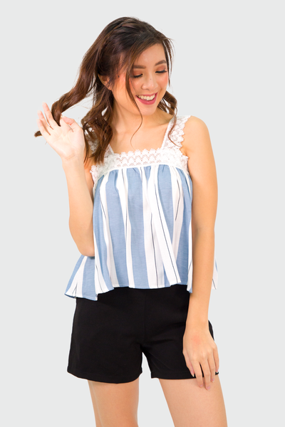 Blue Lace Strap Stripes Top