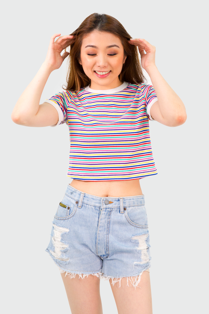 White Rainbow Crop Top