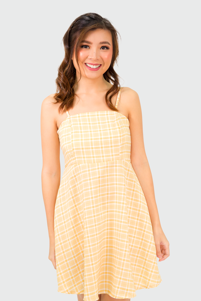 Yellow Plaid Spag Dress