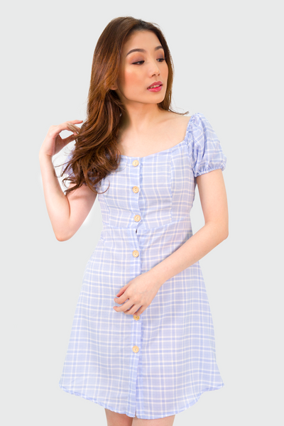 Blue Button Down Plaid Dress