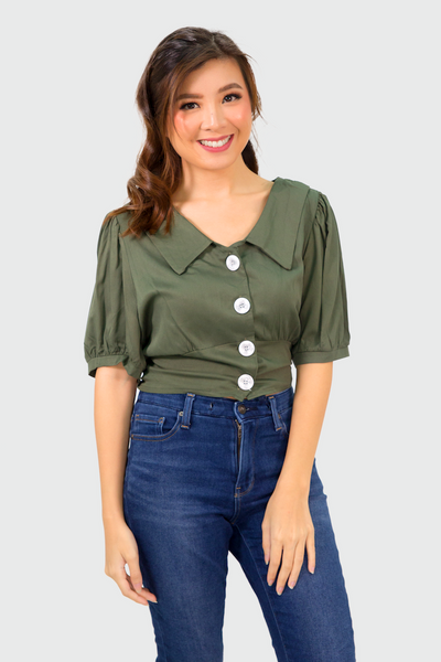 Green Button Collar Button Down