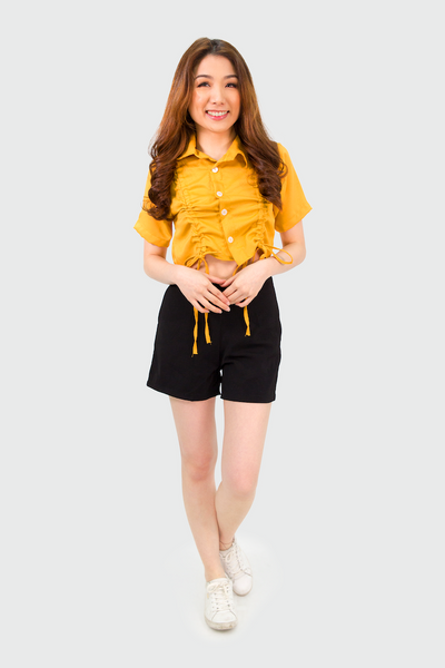 Mustard Pull Collar Button Down