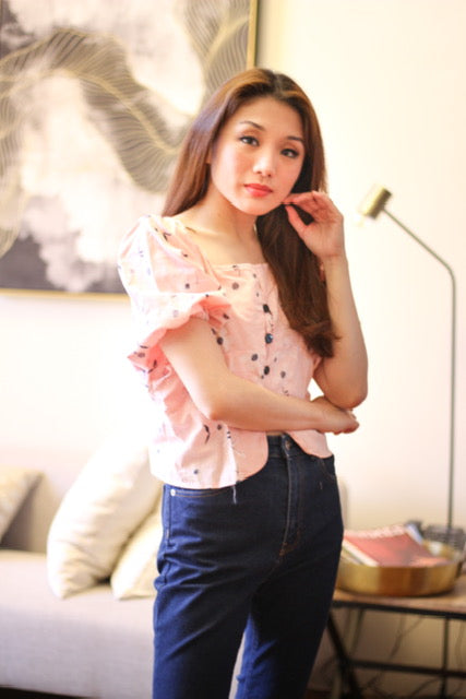 Pink embroided top with garterized sleeve