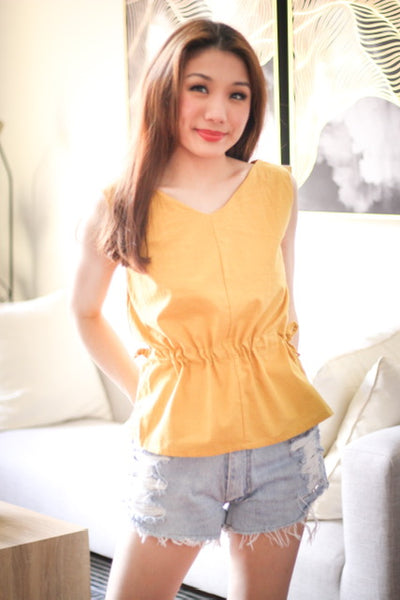 Yellow  V neck sleeveless