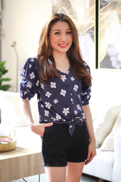 Navy blue floral ribbon top