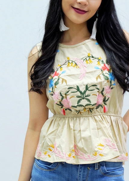 Cream embroidery peplum sleeve