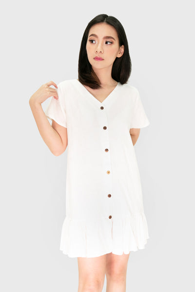 White pleated linen button down dress