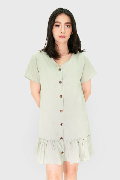 Teal pleated linen button down dress