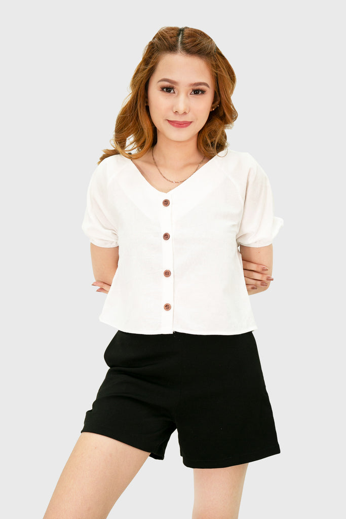 White linen button down with garter short sleeve