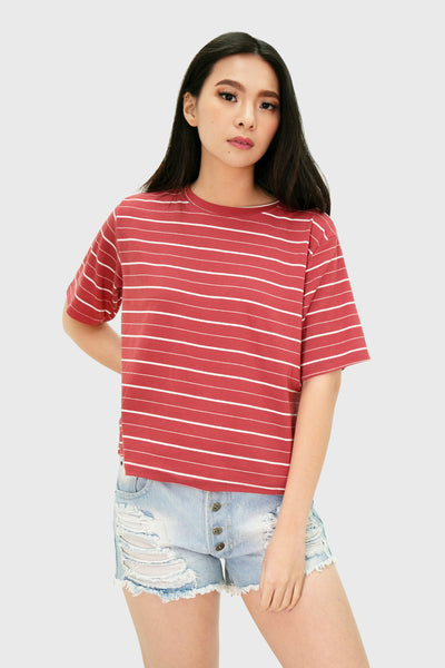 Coral loose stripes top