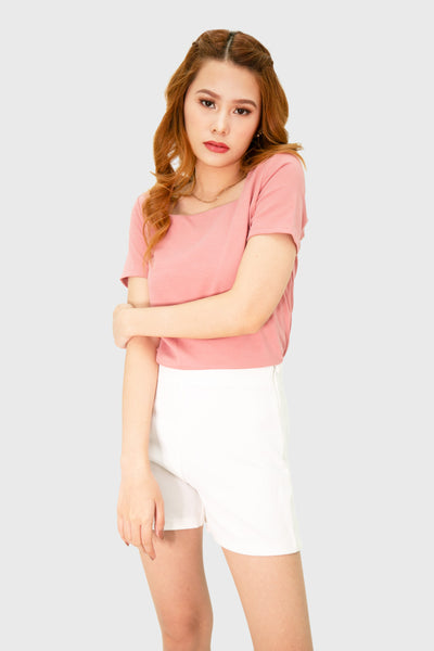 Pink square neck short sleeve