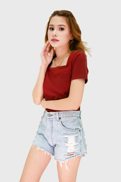Coral square neck short sleeve