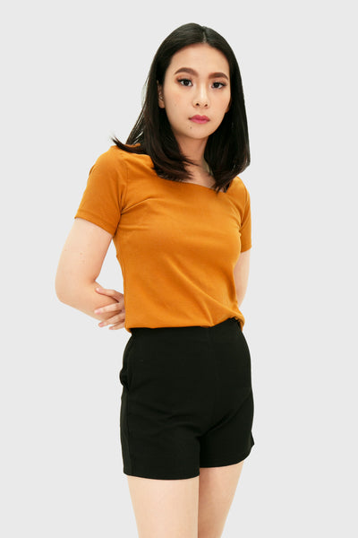 Brown square neck short sleeve