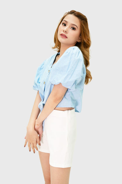 Blue button down puffy sleeve front ribbon top