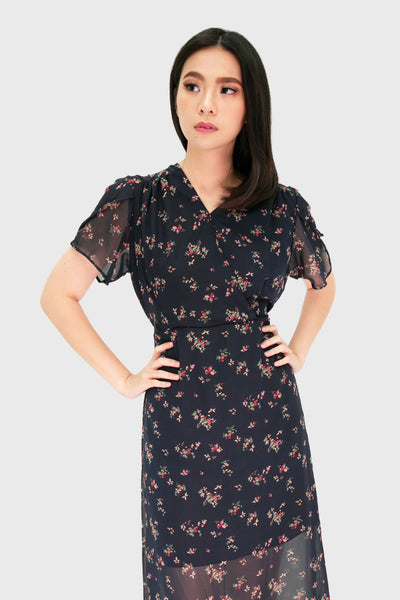 Navy blue fixed floral maxi wrap dress