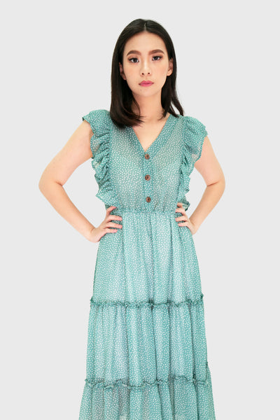 Teal chiffon ruffles midi dress