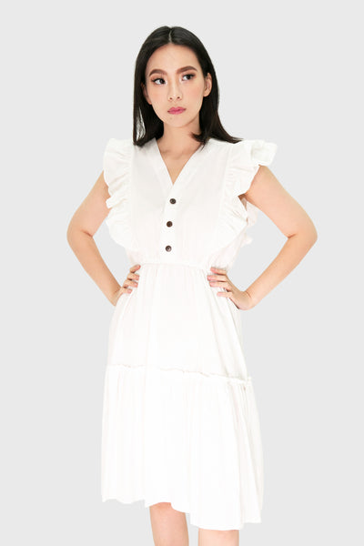 White linen ruffles midi dress