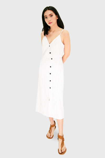 White pinstripes sided maxi dress