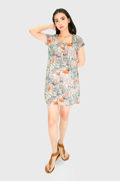 Grey square neck floral button down dress