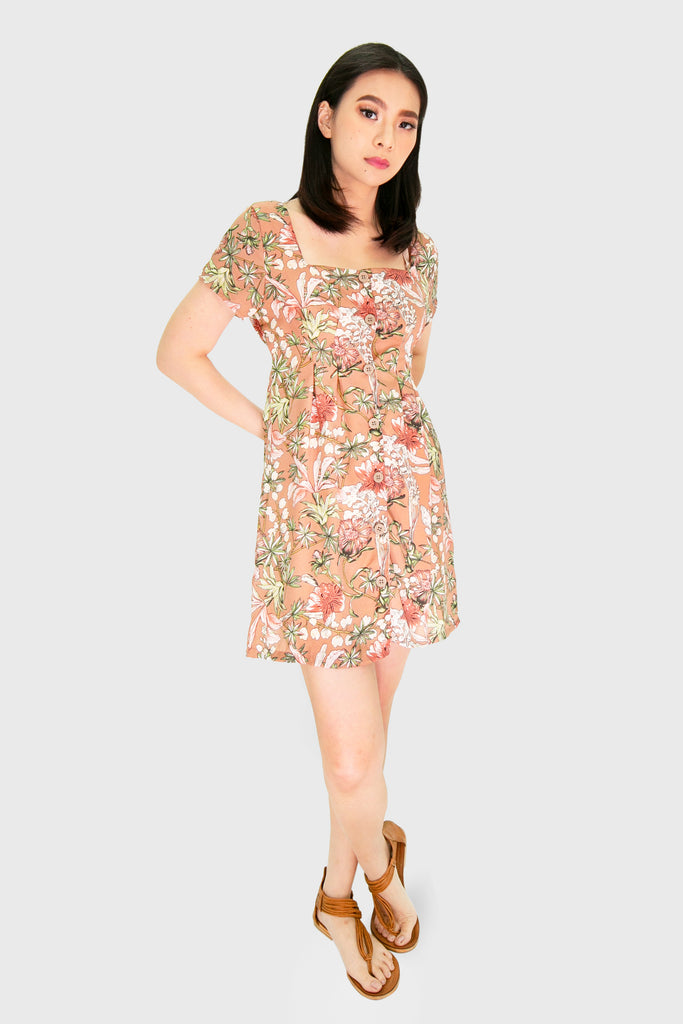 Brown square neck floral button down dress