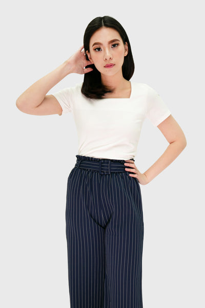 Navy blue pinstripes pants with cloth belt