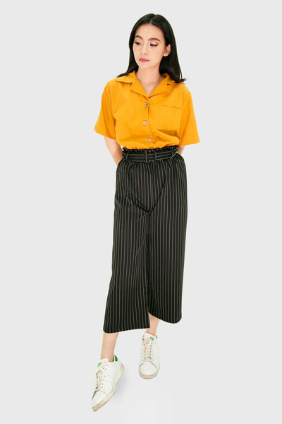 Black pinstripes pants with cloth belt