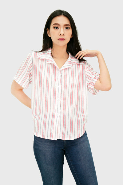 Red dotted stripes button down