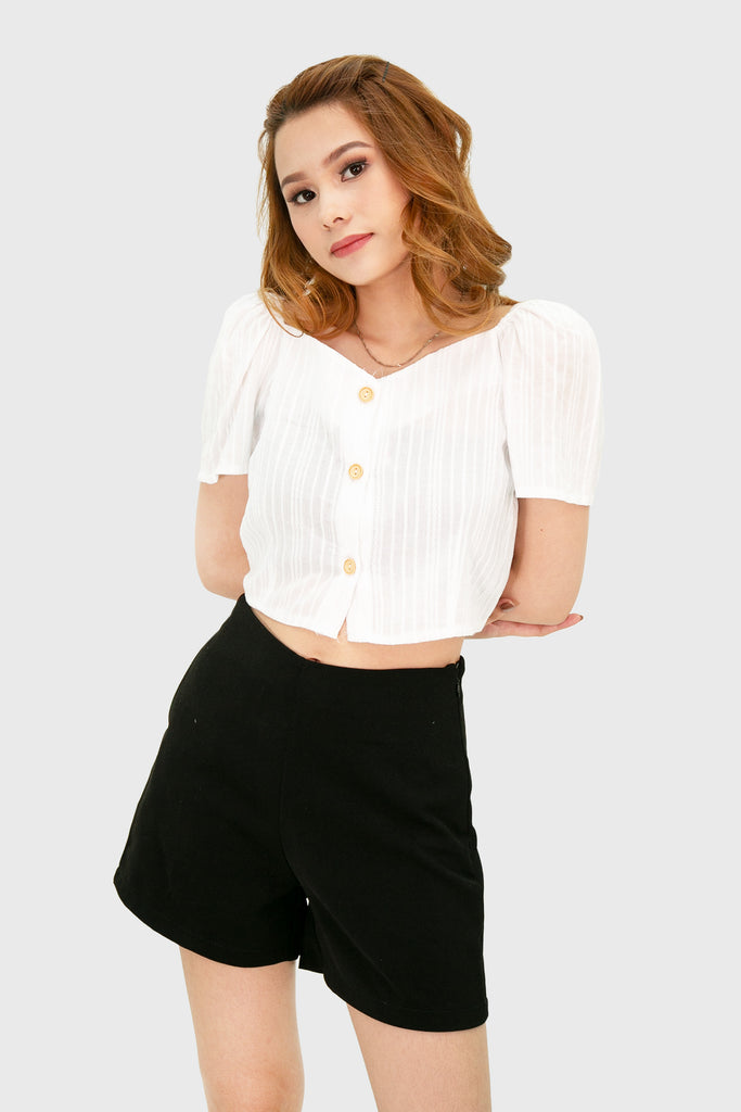 White swiss semi off shoulder top