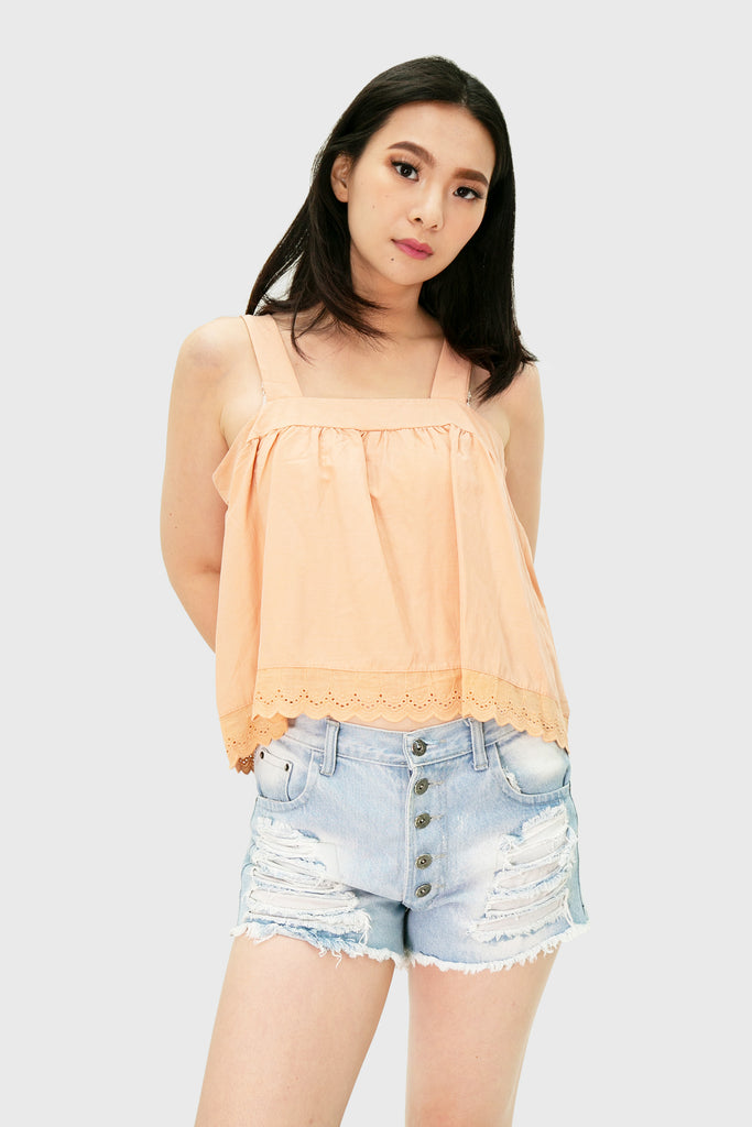 peach spag top with lace