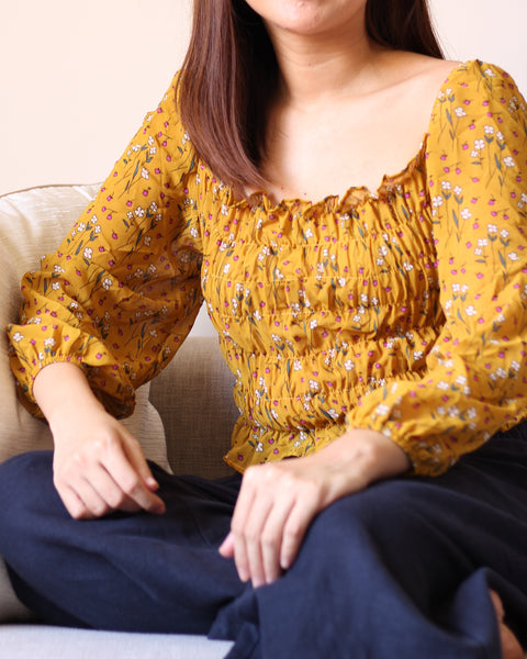 Mustard Red Floral Graphic Chiffon Bod Longsleeves