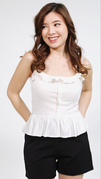 White thin strap ruffles hem with button accent