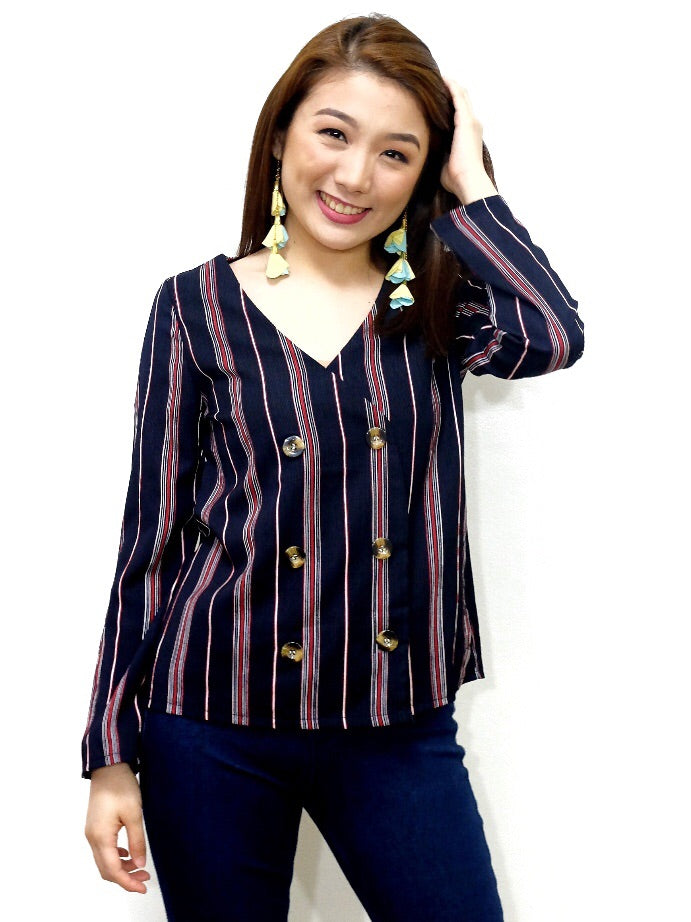 black and red vertical stripes longsleeves with four buttons - Seventh Street Ph