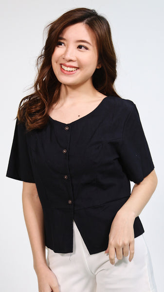 Black sleeveless button down linen top