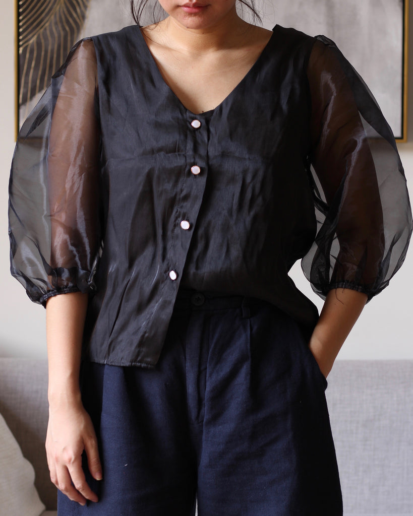 Black Button Down with Puffy Mesh