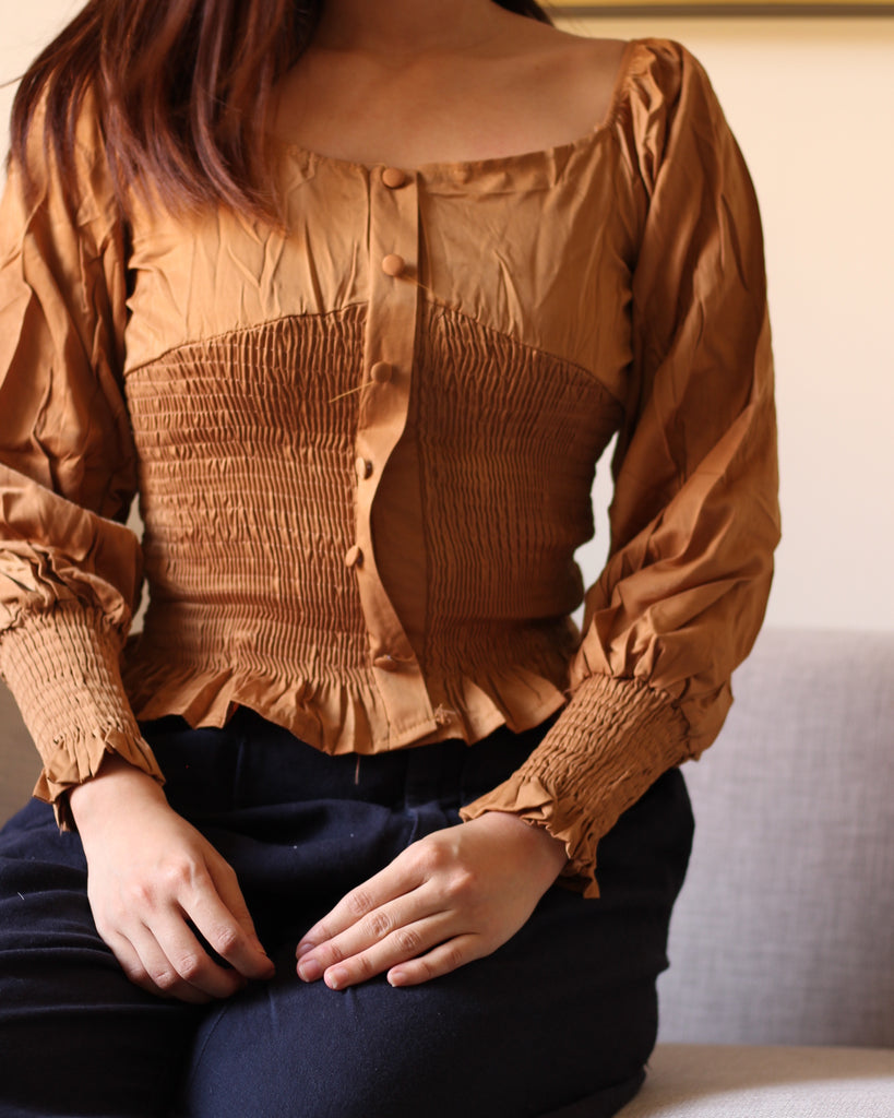 Brown V Neck Longsleeves wit Cloth Button Accent