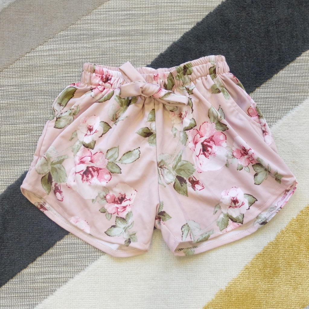 Pink floral shorts