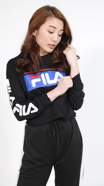 Black fila with red line pullover with sleeves fila