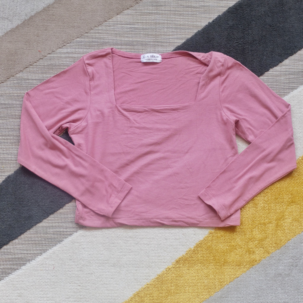 Pink square neck longsleeve