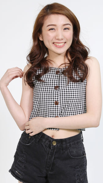 Black gingham sleeveless button down top