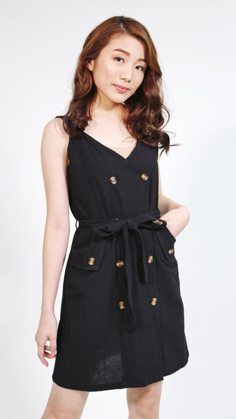 Black linen thick strap dress with button accent belted and pockets