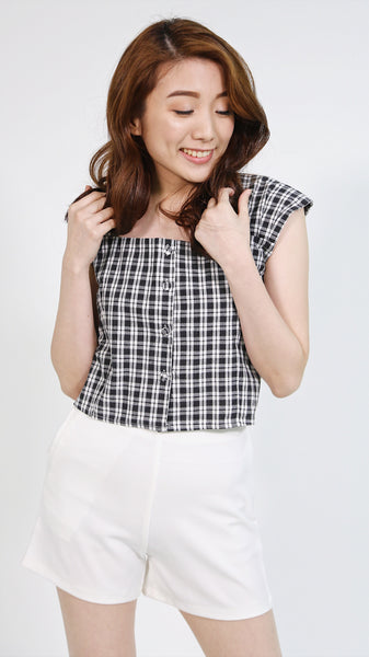 Black gingham button down with crisscross back